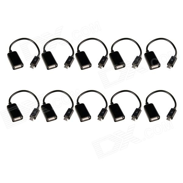 Professional Micro 5-Pin to USB Female OTG Data Cable - Black (10 PCS)