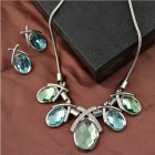 FenLu Fashionable Women's Zinc Alloy + Rhinestone Inlaid Necklace + Earrings Set - Silver + Green