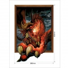 "Antique 3D ""The Fire Dinosaur"" Wall Sticker / Decal - Black + Red + Multi-Colored (58 x 85cm)"