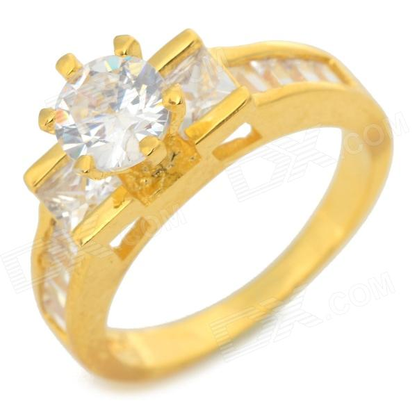 Fenlu HGJZ-028 Stylish Shiny Glass Studded Brass Ring - Translucent + Golden