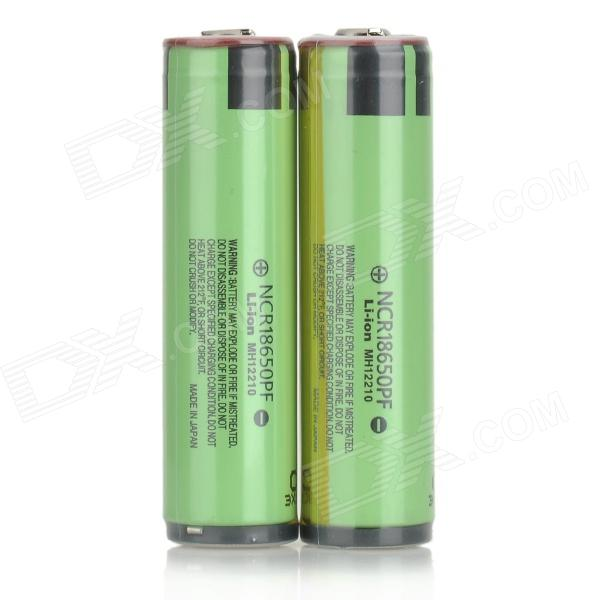 PANASONIC 3.7V 2900mAh Rechargeable Li-ion NCR18650PF Battery - Green + Black (2 PCS) panasonic ncr18650b super max 3 7v 3400mah rechargeable li ion battery black green