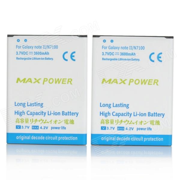 Maxpower 3.7V 3150mAh Li-ion Batteries for Samsung Galaxy Note 2 / N7100 - White + Blue (2 PCS) ismartdigi rechargeable 3100mah li ion battery for samsung n7100 galaxy note 2 n7102 white