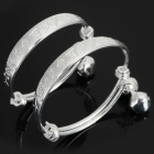 DYSZ-045 Baby's Sweet Bell Decorated Silver Plated Copper Bracelet - Silver (2 PCS)