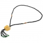 Fenlu FL-040 Auspicious PiXiu Pendant Glass Beads + Yellow Jade Necklace - Black + Yellow