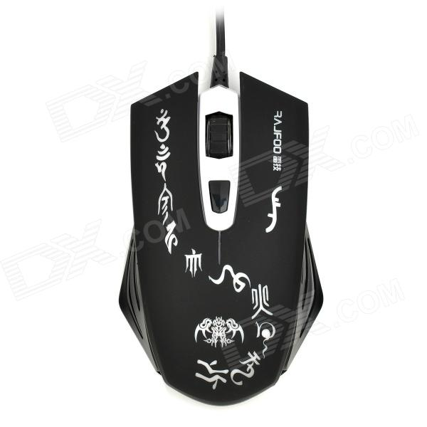 RAJFOO USB 2.0 Wired 800-1200-1600dpi LED Mouse - Black + White адаптер питания