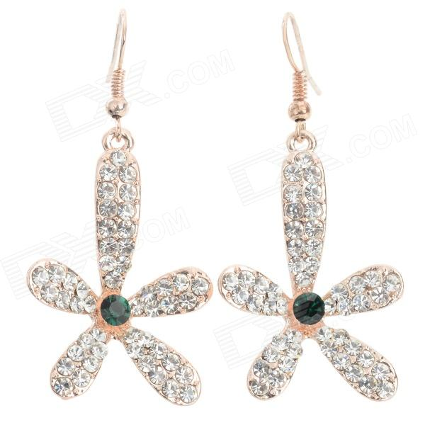 Sweet Shiny Rhinestone Studded Lily Flower Pendant Earring - Golden + Silvery White (2 PCS) ladies shiny rhinestone pendant earrings
