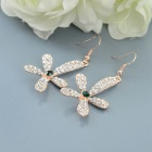 Sweet Shiny Rhinestone Studded Lily Flower Pendant Earring - Golden + Silvery White (2 PCS)