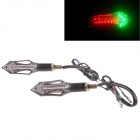 Motorcycle 2W 112LM 14-LED Green Light Turn Signals / Motorcycle Brake Lamps - Black