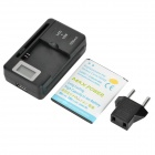 "3.8V/2100mAh Battery + 0.8"" LCD US Plugs Charger + EU Plug Adapter for Samsung Galaxy Core i8262"