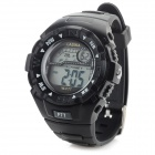 Lasika Men's Waterproof Rubber Band Quartz LED Digital Wrist Watch w/ Subdial - Black (1 x CR2025)