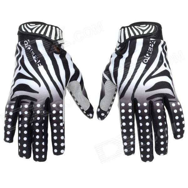 Qepae Zebra Skin Pattern Cycling Anti-Slip Full-Finger Gloves - Black + White (Size M) esdy esdym 3 outdoor cycling anti slip breathable full finger pu tactical gloves tan m