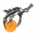 Retro Chinese Dragon Claw Shaped 316L Stainless Steel Necklace Pendant - Antique Silver + Orange