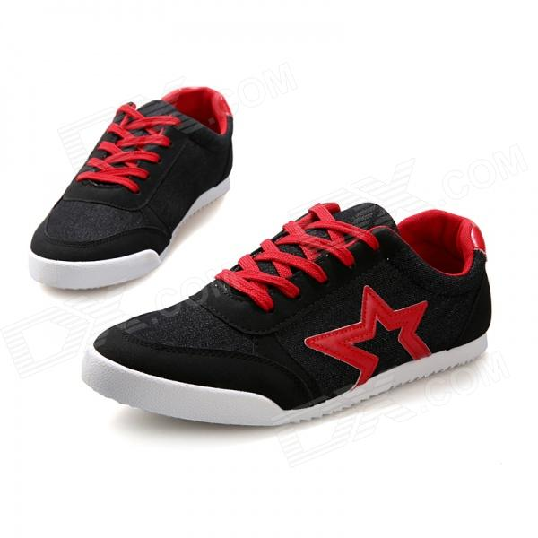 Star Casual Canvas Shoes - Black + Red (Size 43)