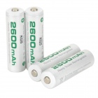 Soshine Rechargeable 1.2V 2600mAh NiMH AA  Batteries - White + Army Green ( 4 PCS )