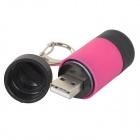 Water-resistant usb powered 1-led 5v 25lm 1-mode white light mini flashlight w/ keychain - red