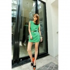 Fashionable Sleeveless Chiffon Dress w/ Waist Belt for Women - Green (Size M)