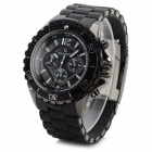 V6 V020 Men's Sports Analog Quartz Wrist Watch w/ Silicone Band - Black (1 x 626)