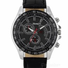 Zhongyi 824 Men's Fashionable Analog Quartz Wrist Watch w/ PU Band - Black + Silver (1 x 626)