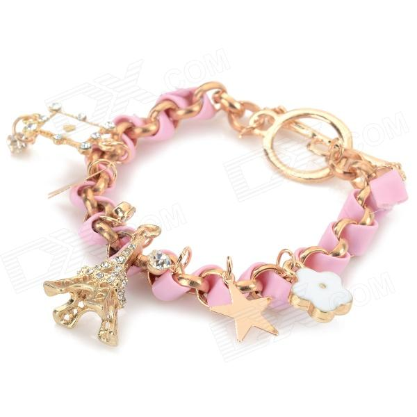 Fashionable Eiffel Tower Decoration Zinc Alloy + Leather Rope Bracelet for Women - Pink + Golden 7 in 1 pu leather golden flower care routine set golden pink silver