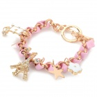 Fashionable Eiffel Tower Decoration Zinc Alloy + Leather Rope Bracelet for Women - Pink + Golden
