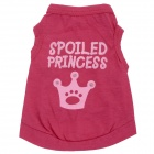 M-0021 Cute Letter Crown Style Cotton Pet Cat / Dog Vest Clothes - Dark Pink ( S )