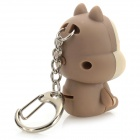 Squirrel Style Keychain w/ White LED Light + Sound Effect - Brown + Beige + Muti-colored (3 x AG10)