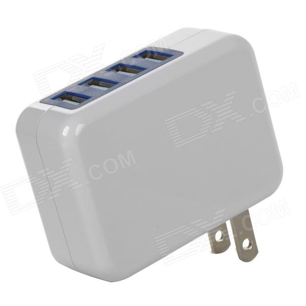 US Plug 3A 5V USB 4-Port Power Adapter for Cellphones / GPS / Tablets + More - White + Blue