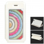 Rainbow Crystal Type Protective Flip Open PU Leather + PC Case w/ Stand for IPHONE 5 / 5S - White