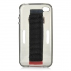 Sports Protective Silicone Case w/ Arm Band for IPHONE 4 / 4S - Translucent Black + Black + Red