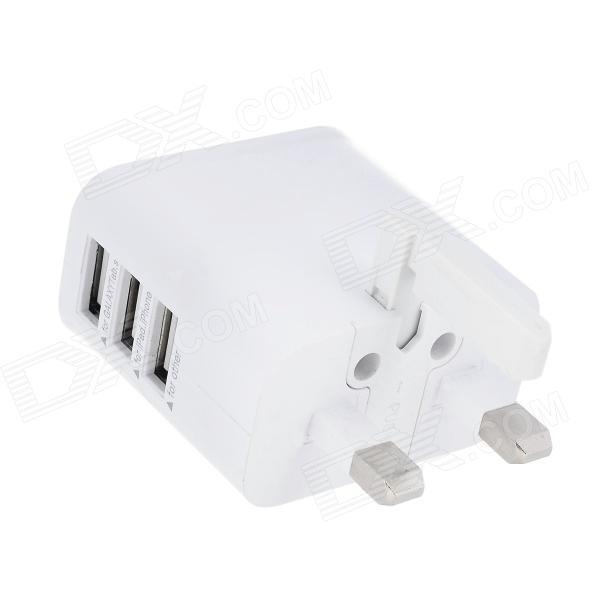 3-Port USB AC UK Plug Power Adapter for Mobile Phone / Tablet PC - White (100~240V) 3 port usb ac uk plug power adapter for mobile phone tablet pc white 100 240v