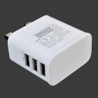 3-Port USB AC UK Plug Power Adapter for Mobile Phone / Tablet PC - White (100~240V)