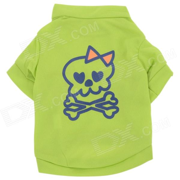 M-0044 Pirate Style Dacron Pet Cat / Dog T-shirt Clothes - Green + Blue + Orange ( S )