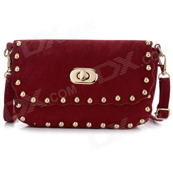 Women's Fashionable Punk Style Rivet Shoulder Bag Messenger Bag - Dark Red