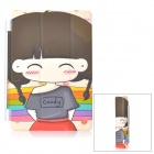 Sweet Chubby Girl Pattern Foldable PU Leather Front Cover for IPAD MINI - Brown + Beige