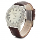 Haiyan 6493 Women's Crystal Studded Quartz Wristwatch w/ Leather Band - Brown + Silver (1 x 626)
