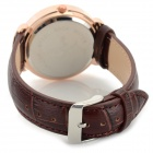 Haiyan 6495 Women's Crystal Studded Quartz Wristwatch w/ Leather Band - Brown + Rose Gold (1 x 626)