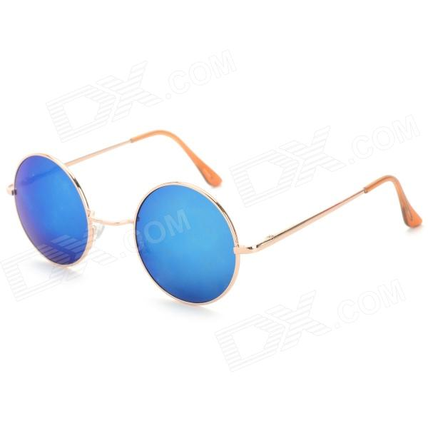 Oulaiou 0701 Women's Retro Sunglasses w/ Round Alloy Frame + Resin Lens - Golden + Blue