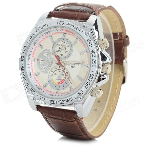 Zhongyi 852 Fashionable PU Band Quartz Analog Wrist Watch for Men - Silver + Brown (1 x 626)