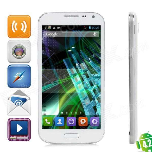 JIAKE I9500W Android 4.2.2 WCDMA Quad-core Bar Phone w/ 5.0″ Screen, Wi-Fi and GPS – White + Silver