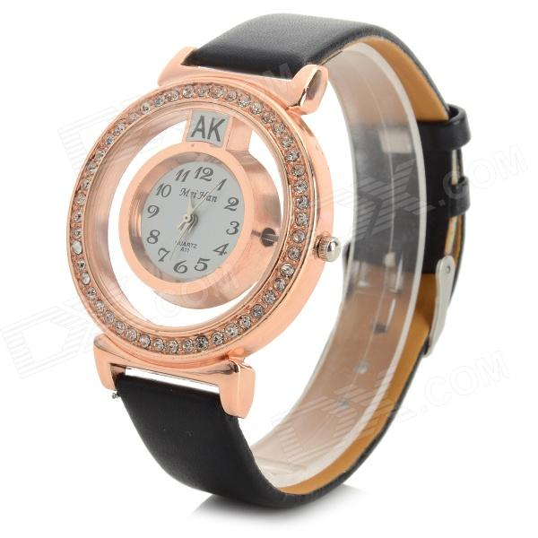 MeiHan A11 Stylish Crystal Studded Analog Quartz Wristwatch w/ PU Band - Black + Rose Gold (1 x 626)
