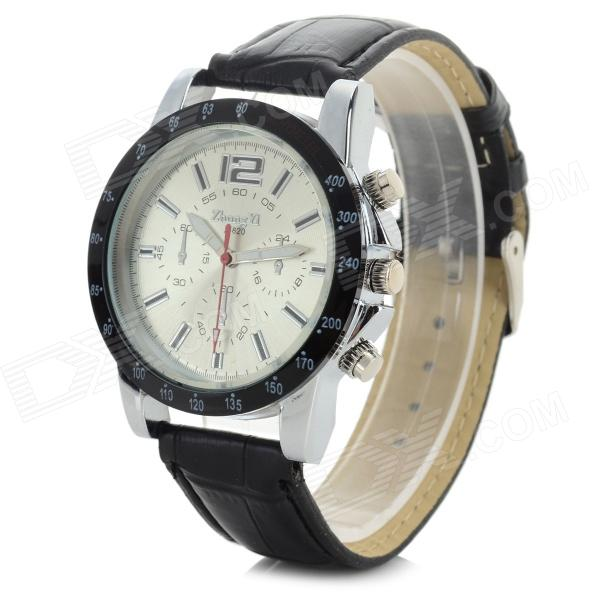 Zhongyi 820 Stylish Analog Quartz Wristwatch w/ PU Band - Black + Silver (1 x 626)