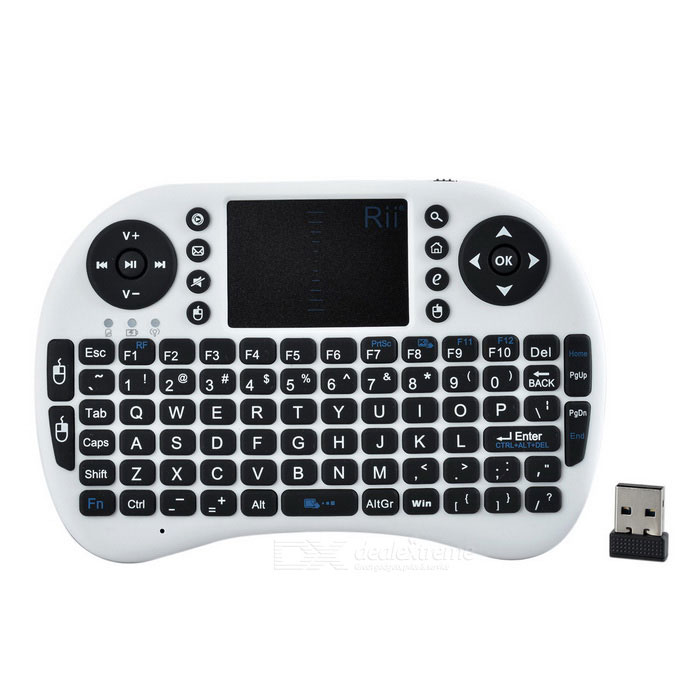Rii Mini i8+ USB 2.0 2.4GHz Wireless 92-Key Touch Keyboard w/ Air Mouse - White + Black japan printhead dx4 solvent print head for roland sc540 545ex with without serial number get 2pcs dx4 small damper free