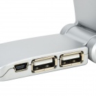 Fashionable USB 3-LED Lamp w/ 4-Port HUB / LED Indicator - Silvery White (4 x LR932)