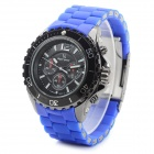 V6 V020 Men's Sports Analog Quartz Wrist Watch w/ Silicone Band - Black + Blue (1 x 626)