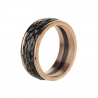 Simple Retro Style Men's 317L Stainless Steel Finger Ring - Golden + Black (US Size 11)