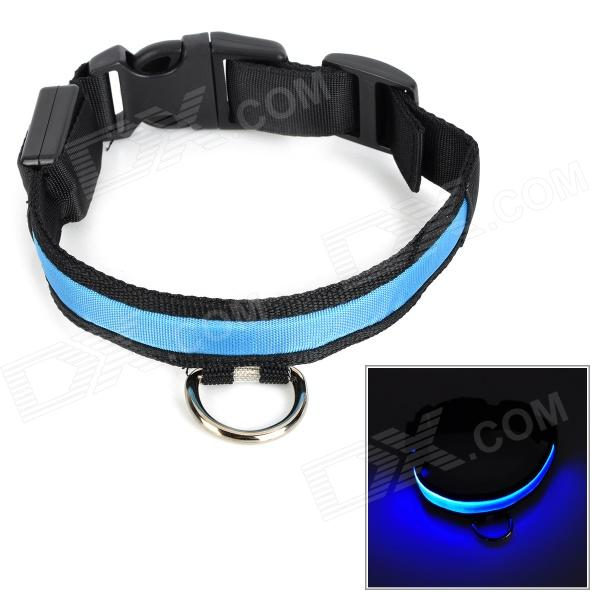 LED Glow-in-the-Dark Nylon Collar for Pet Dog - Blue + Grey (L / 2 x CR2032)