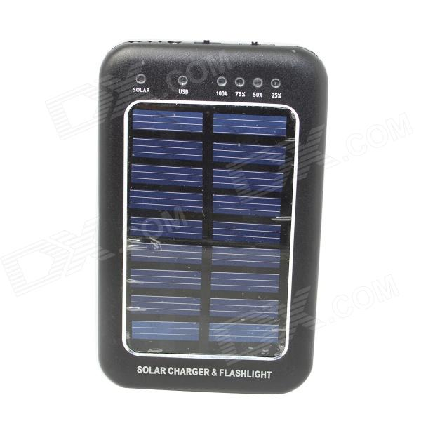 "Solar Powered ""2600mAh"" External Li-polymer Battery Charger Power Source Bank - Black"