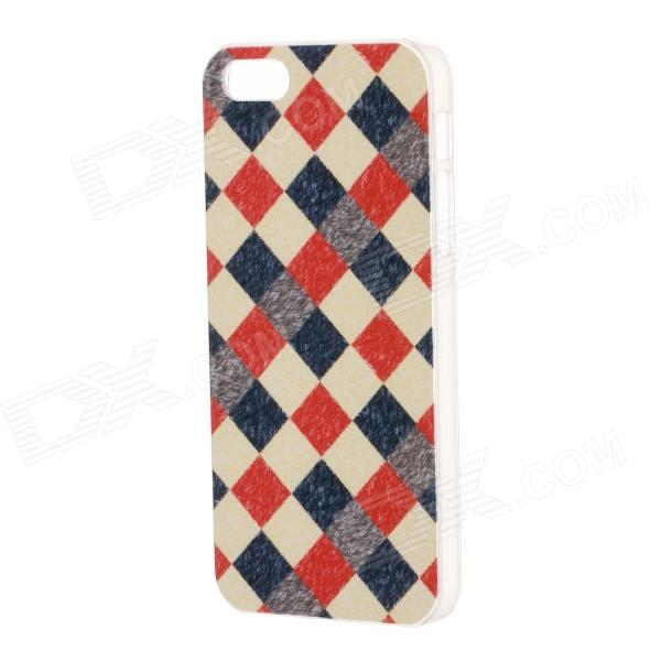 Grid Pattern Protective Plastic Back Case for IPHONE 5 / 5S - Red + White lantern hanging on tree pattern plastic back case for ipod touch 5 white red