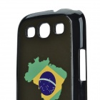 2014 World Cup Brazil Flag Pattern Aluminum Alloy Back Case w/ Card Slot for Samsung Galaxy S3 i9300