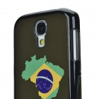 2014 World Cup Brazil Flag Pattern Aluminum Alloy Back Case w/ Card Slot for Samsung Galaxy S4 i9500